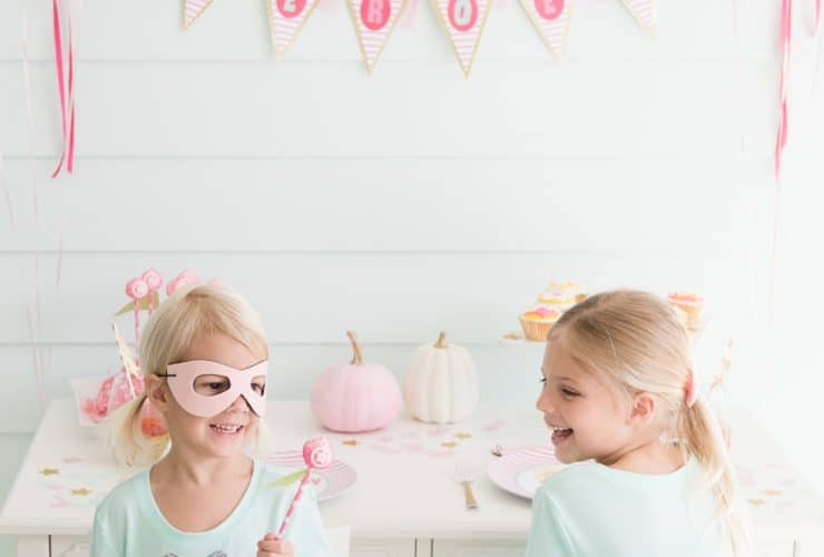 "Super Cute Pink ""Halloween Heroes"" Party"