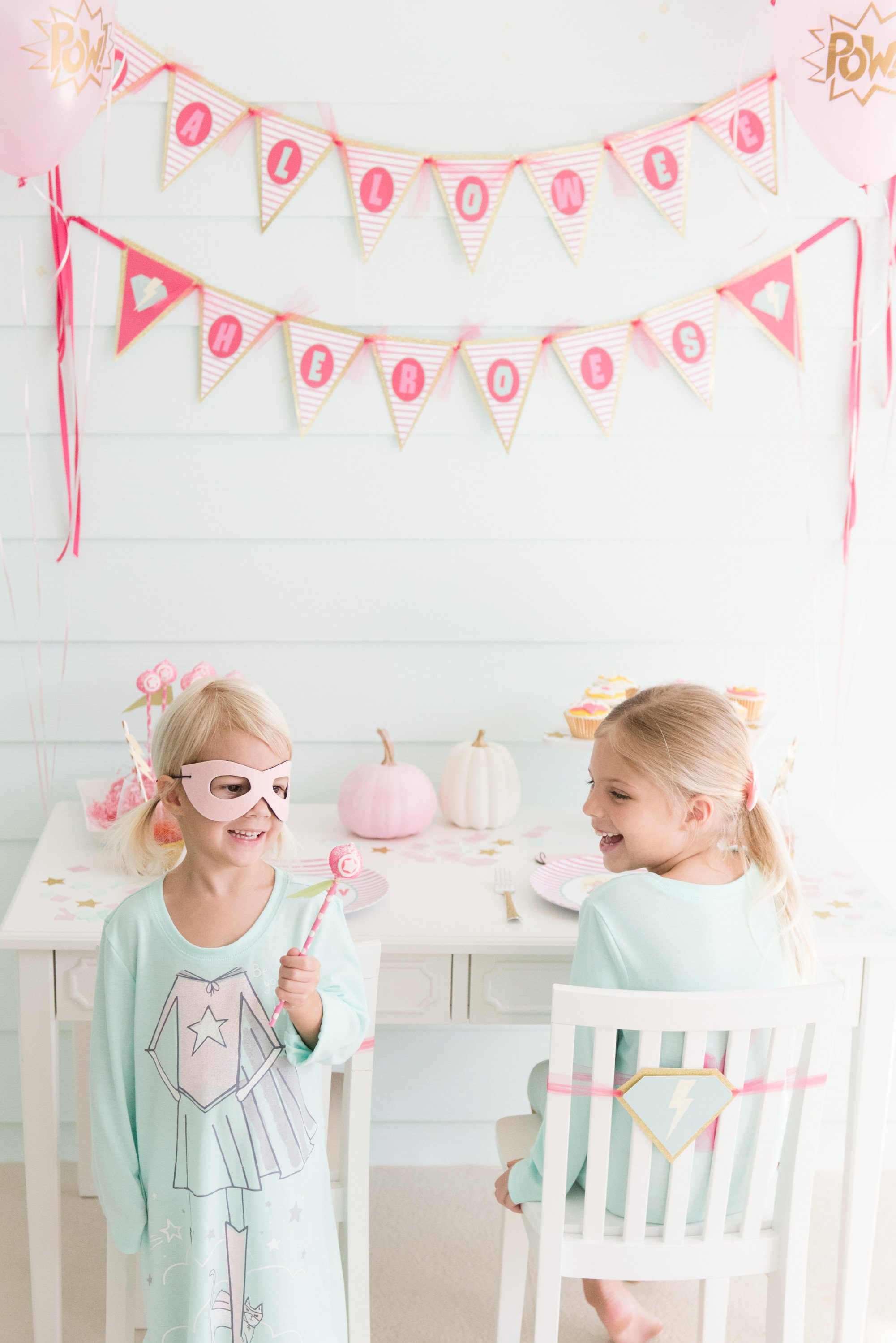 "Super Cute Pink ""Halloween Heroes"" Party"