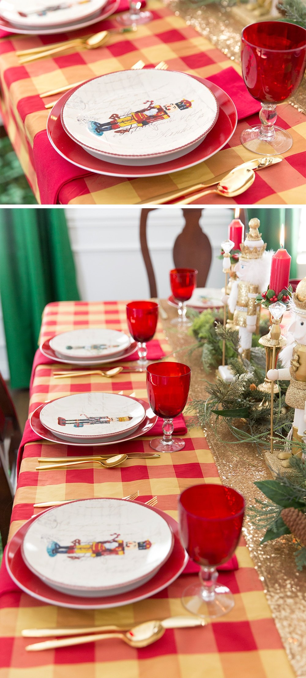 Setting a traditional Christmas tablescape for the holiday season!