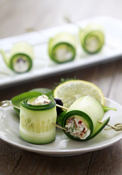 Skinny Appetizers for your next Party! Cucumber Feta Rolls