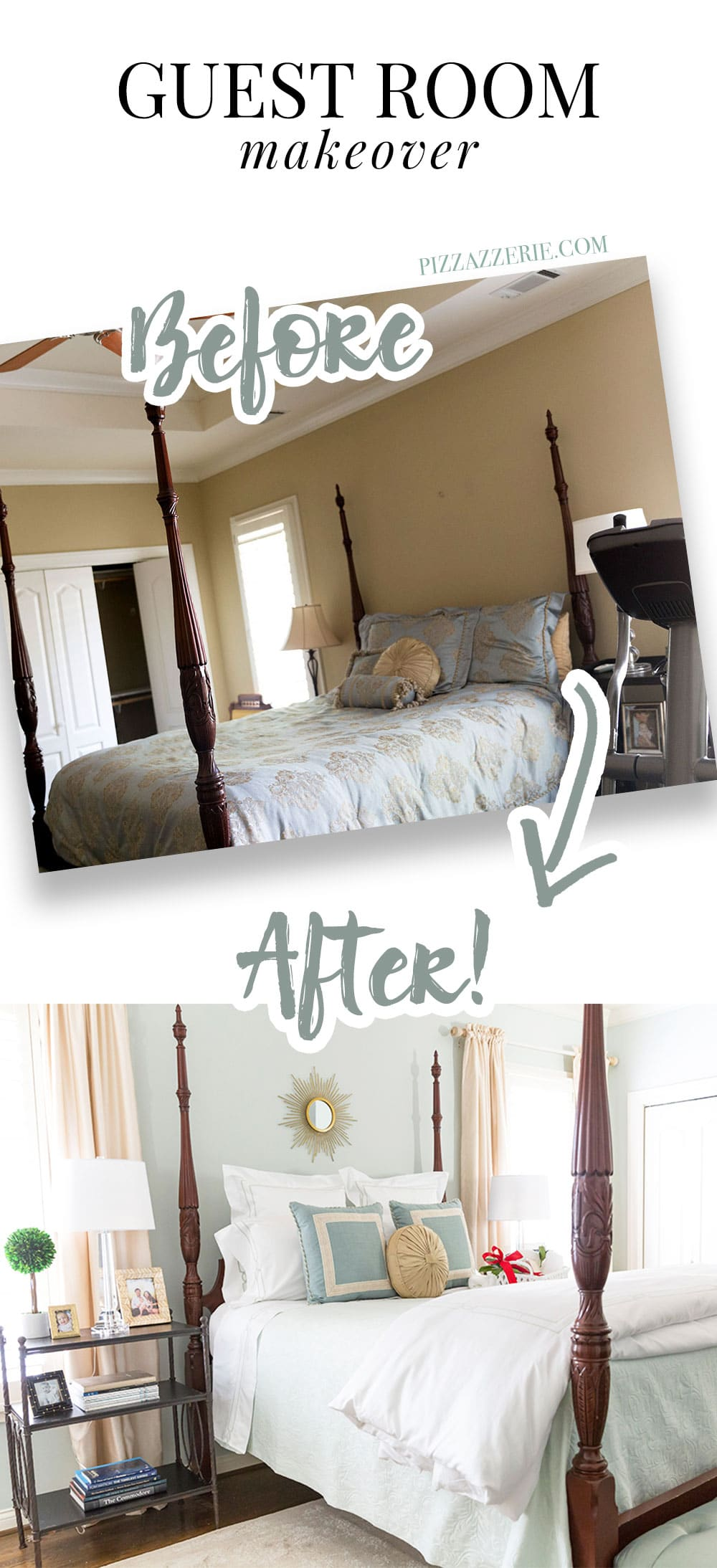 ... Full Guest Room Bed Makeover, Sherwin Williams Sea Salt