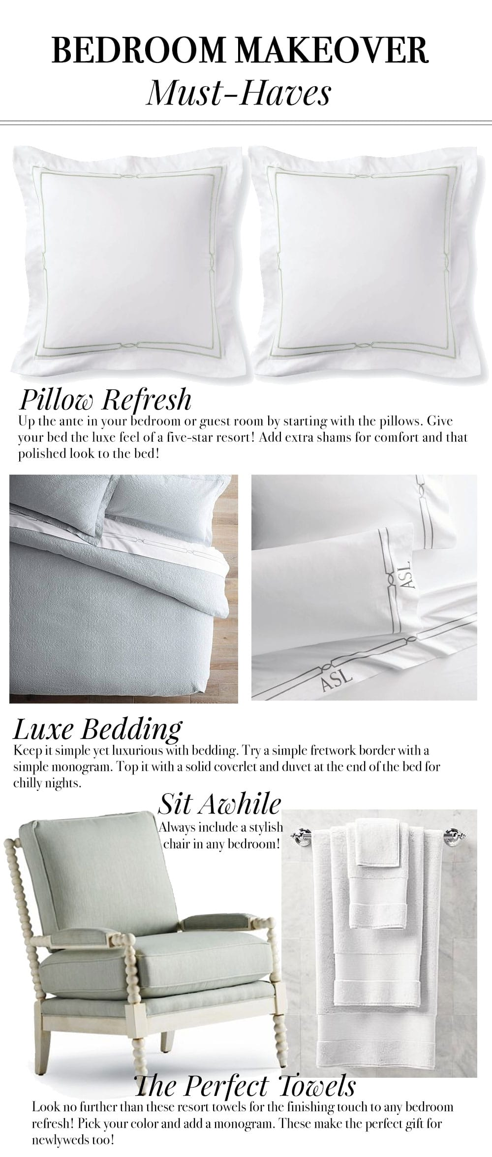 MUSTHAVES for any bedroom makeover! The best in sheets, towels, etc!