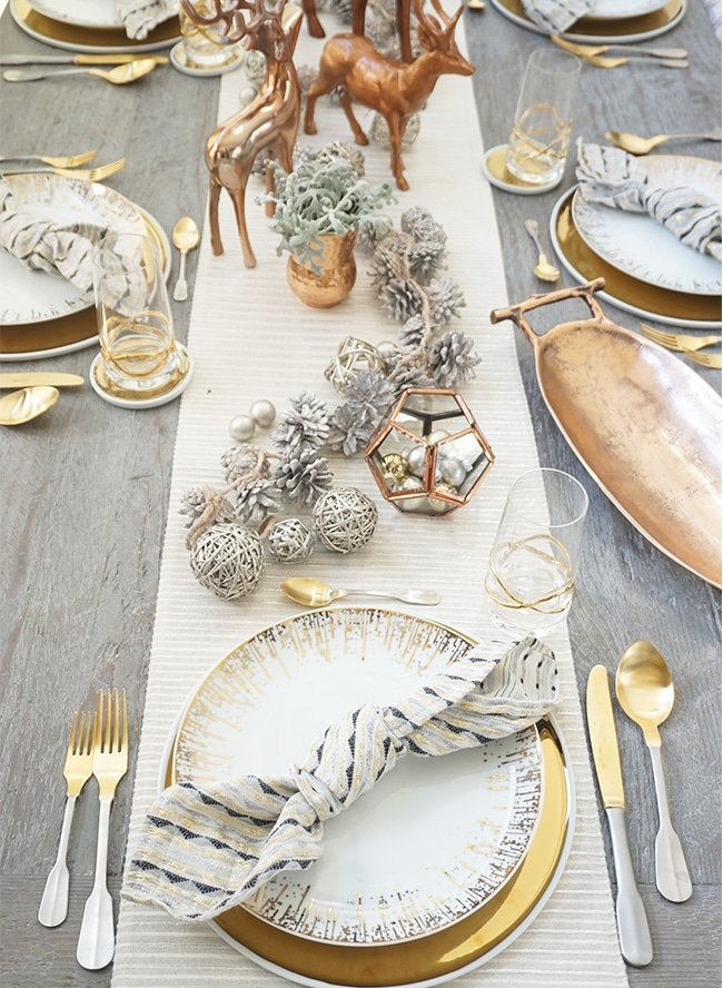 Copper and Gold Holiday Tablescape! Love this!