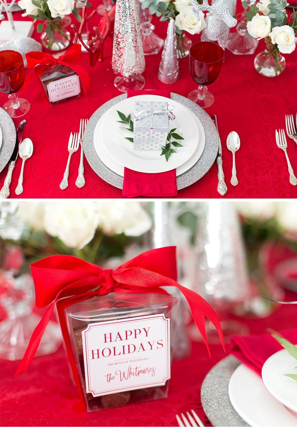 Red and Silver Holiday Place Setting