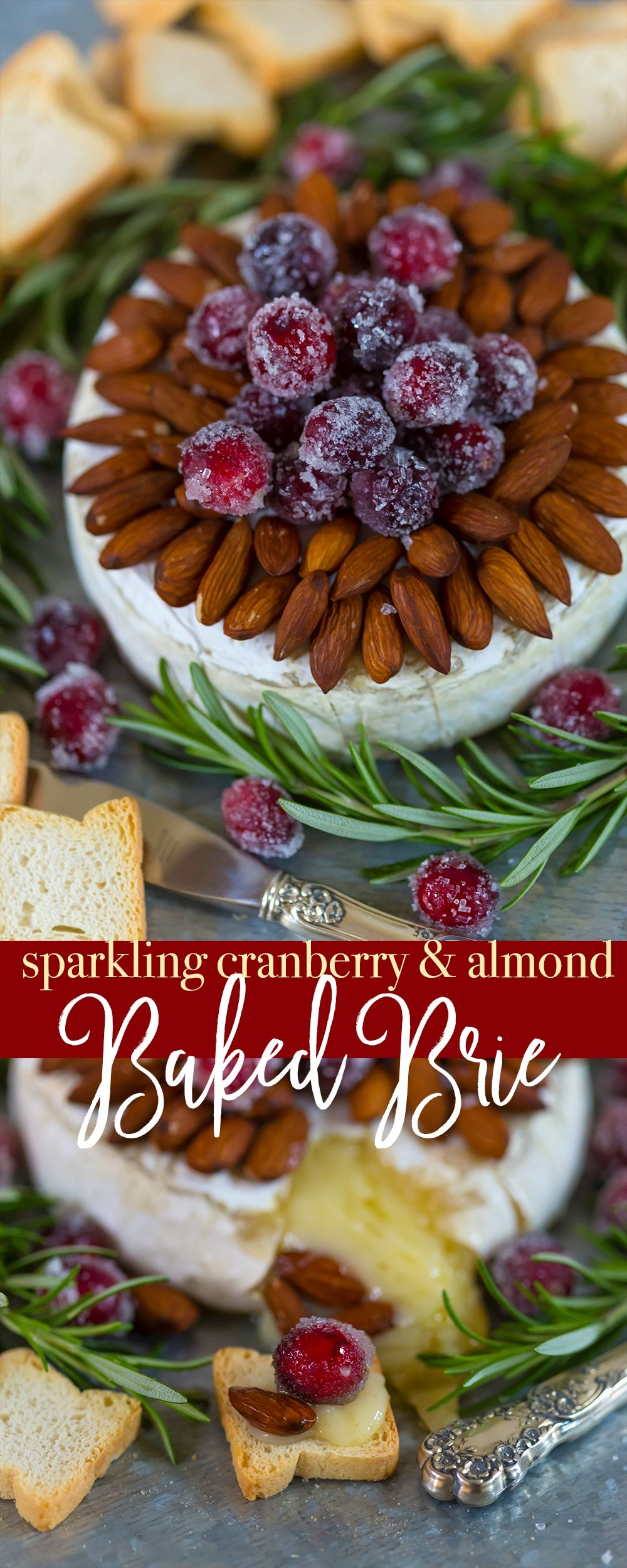 How to make the perfect holiday appetizer, sparkling cranberry baked brie with almonds!