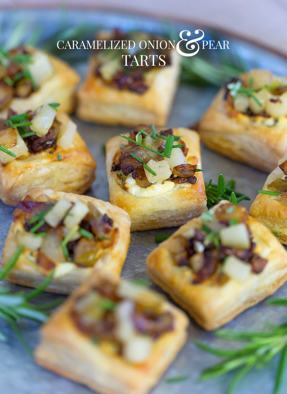 Caramelized Onion and Pear Tart | Easy Appetizer | Fancy Party Food