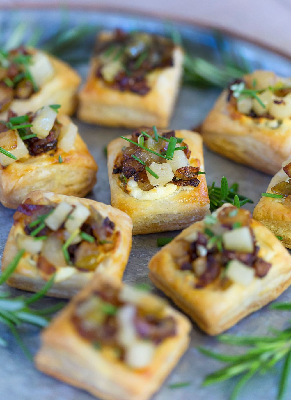 Caramelized Onion and Pear Tart   Easy Appetizer   Fancy Party Food
