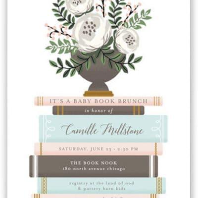baby shower book invitation