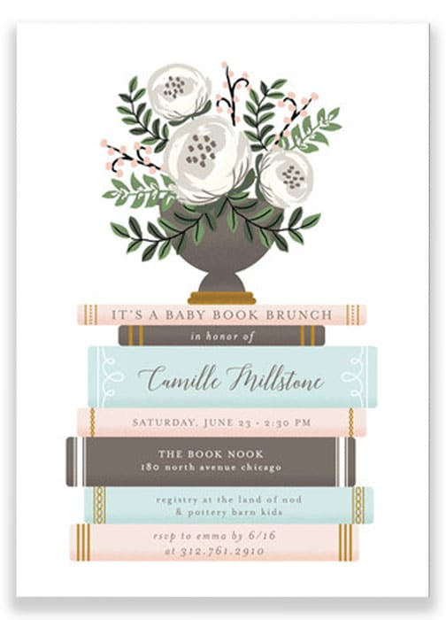 baby shower book invitation