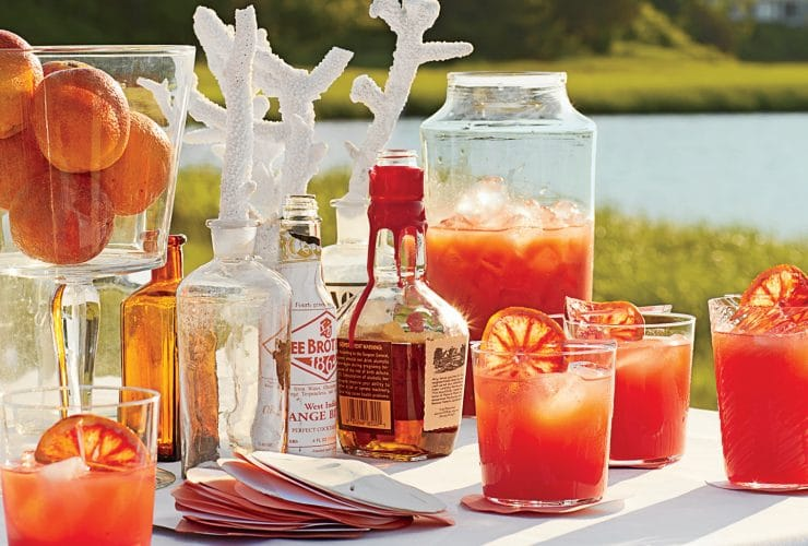 Beach Cocktails: Blood Orange-Bourbon Coolers & Tropical Champagne Punch