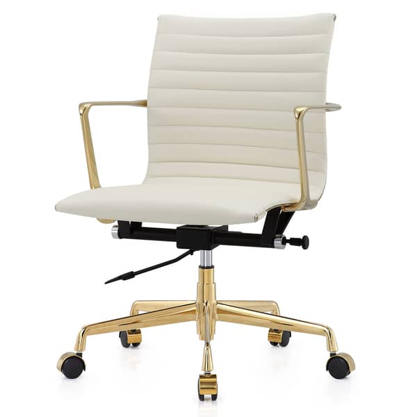 Gold & White Leather Office Chair