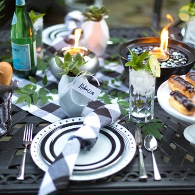 Black and White Backyard Dinner Party