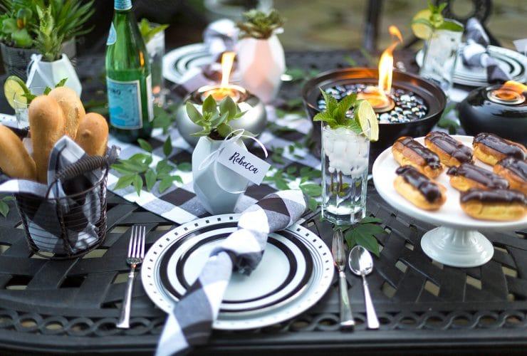 Black & White Backyard Dinner Party