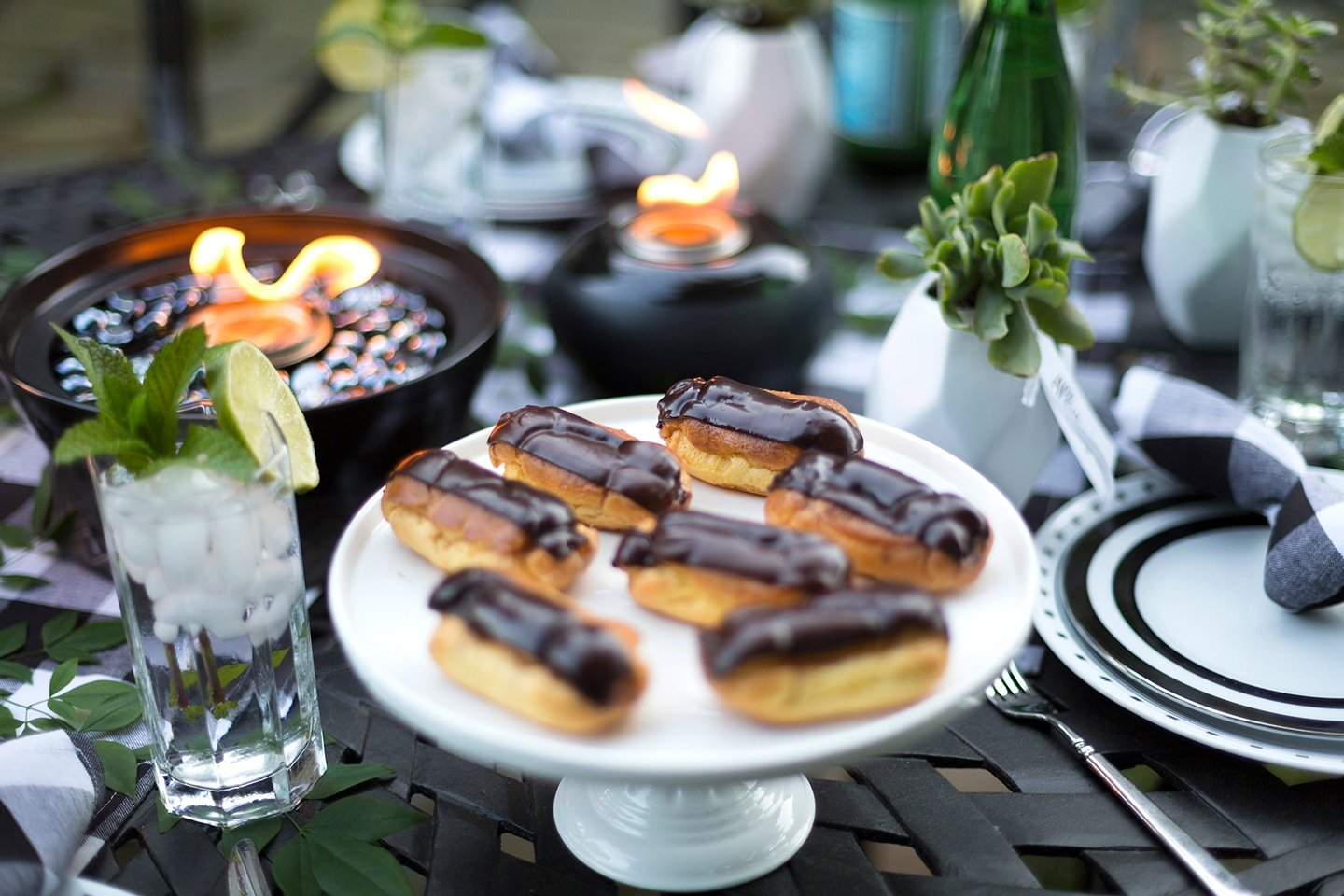 Black and White Backyard Dinner Party with Campfire S'more Eclairs for dessert!