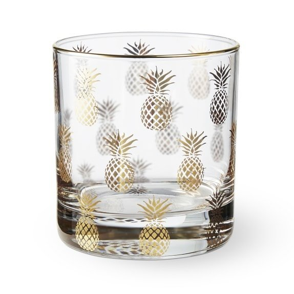 Gold Pineapple Old Fashioned Glasses