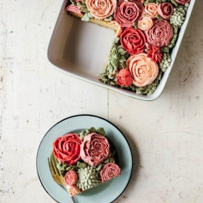 Gorgeous Rose Dessert | Rose Sheet Cake Recipe