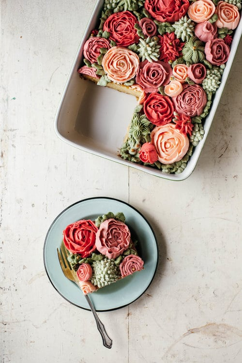 Gorgeous Rose Dessert | Rose Sheet Cake Recipe