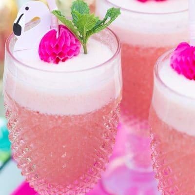 close up of pink flamingo drinks