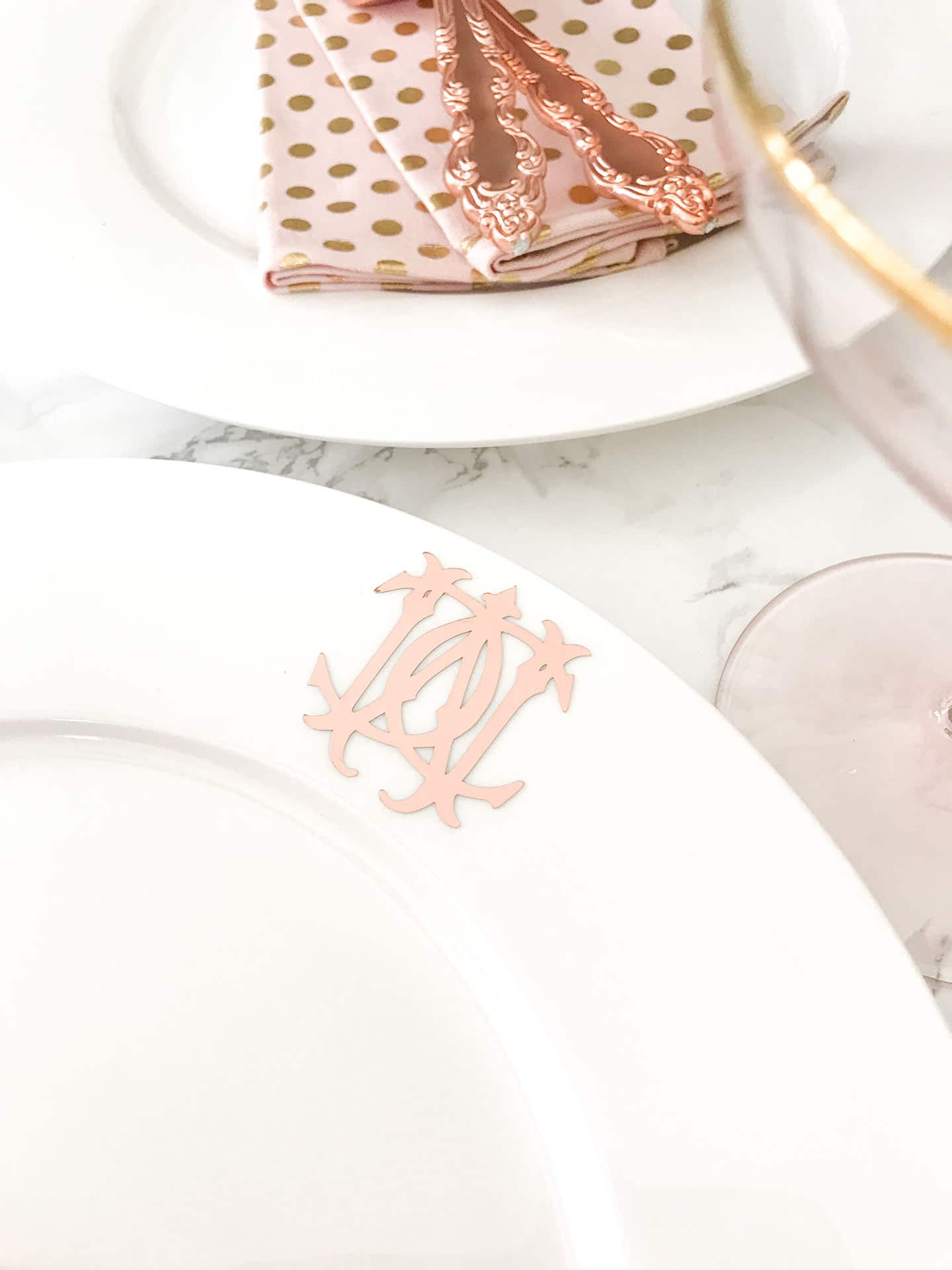diy rose gold monogrammed dinner plates