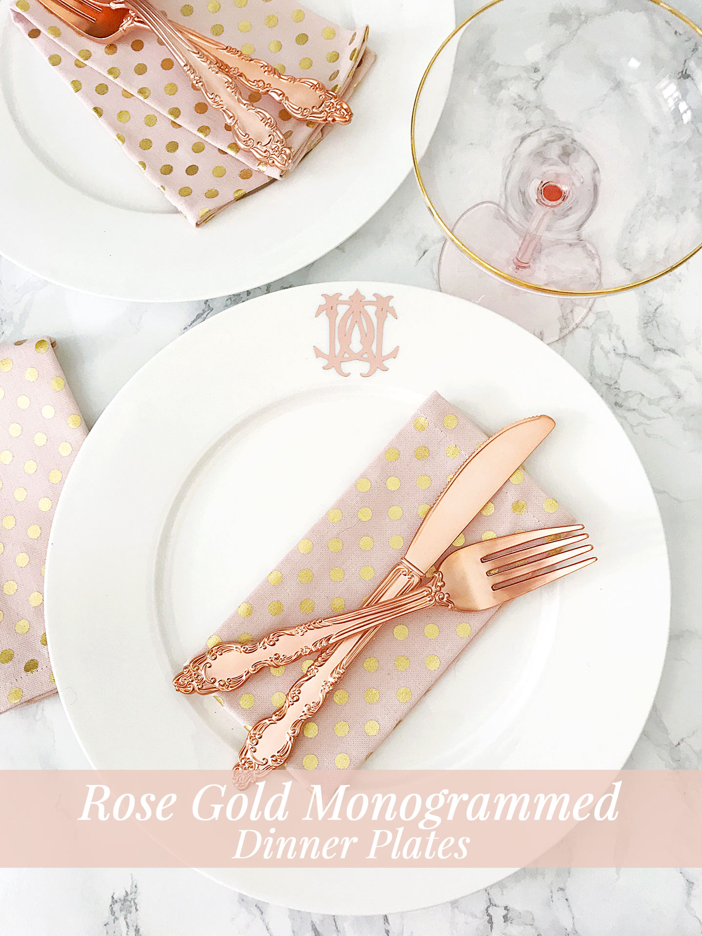 Diy Rose Gold Monogrammed Dinner Plates Pizzazzerie