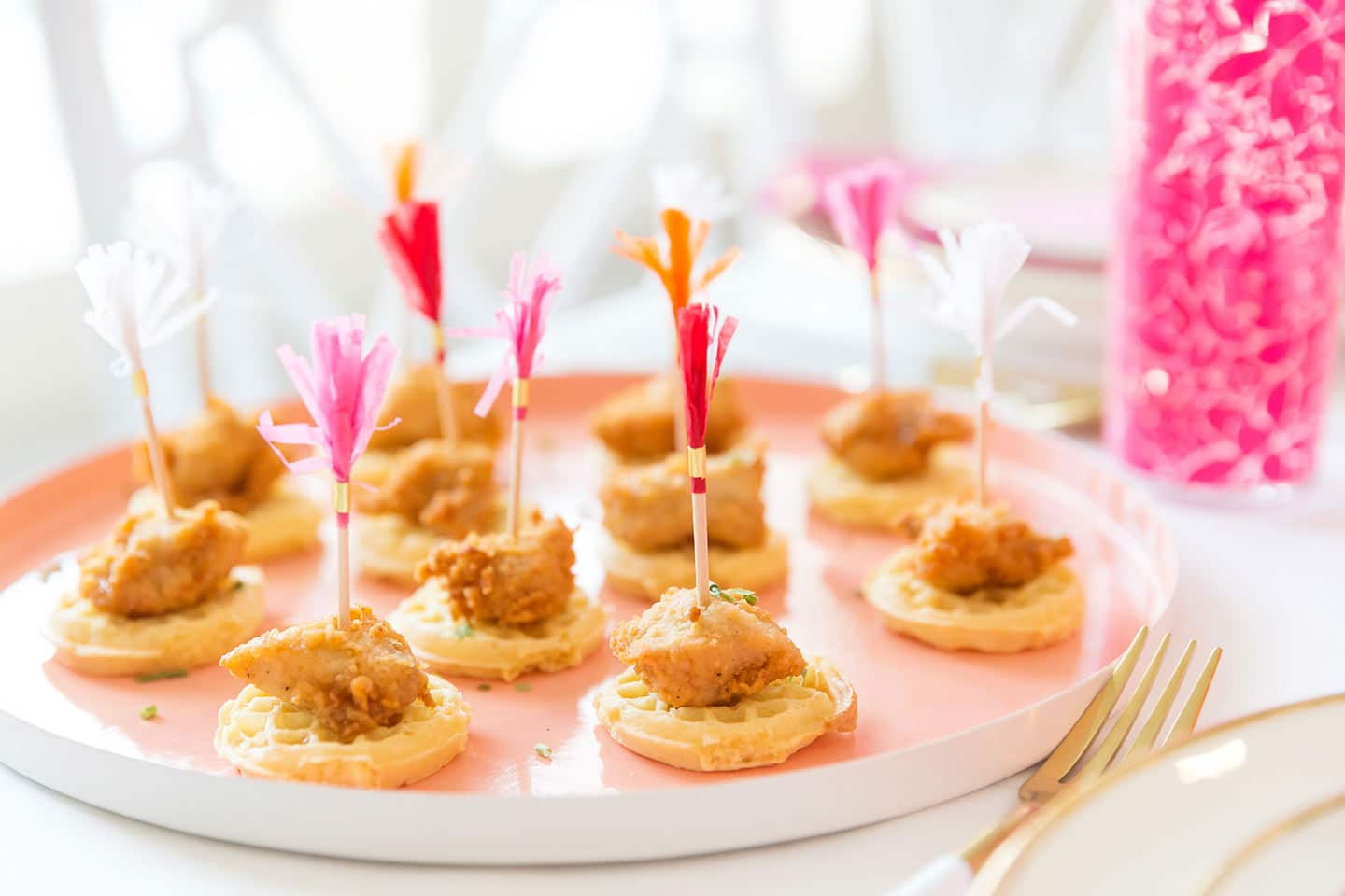 party ideas for adults : mini chicken and waffles appetizer