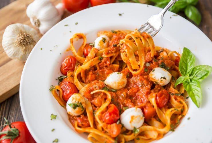 Caprese Fettuccine with Roasted Garlic Marinara Sauce