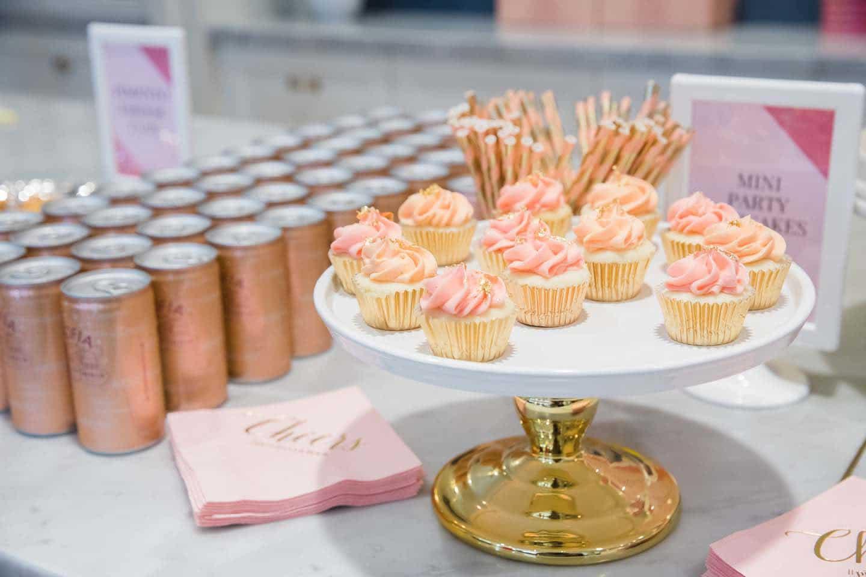 mini pink glitter cupcakes