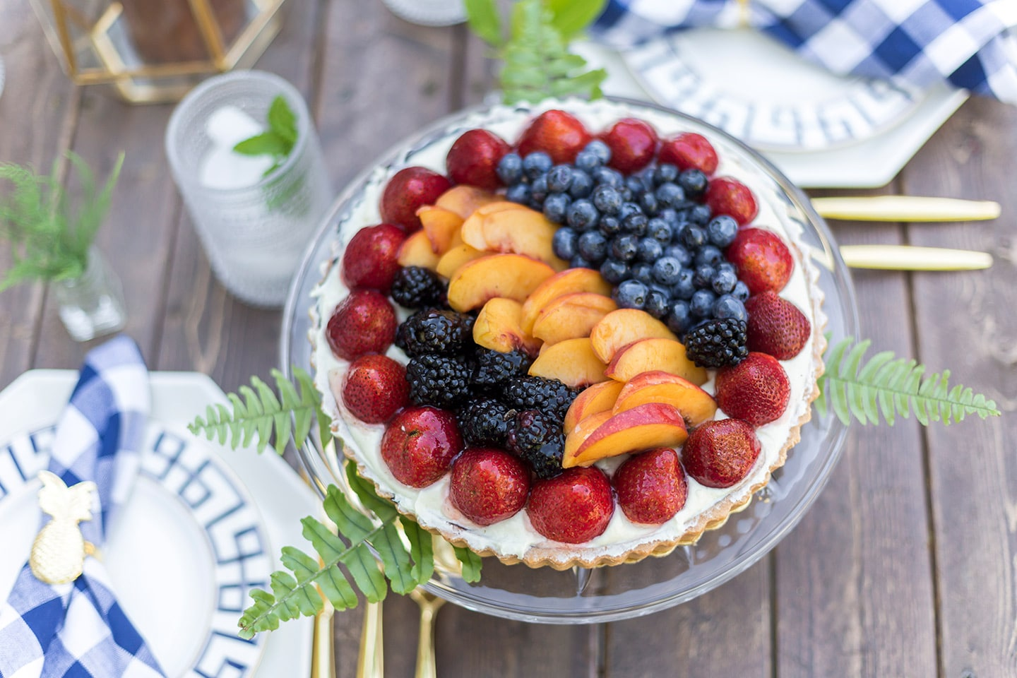 rustic fruit tart on tablescape
