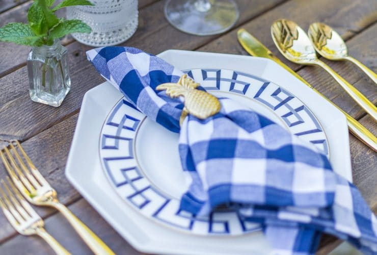 Blue & Gold Dinner Party Tablescape