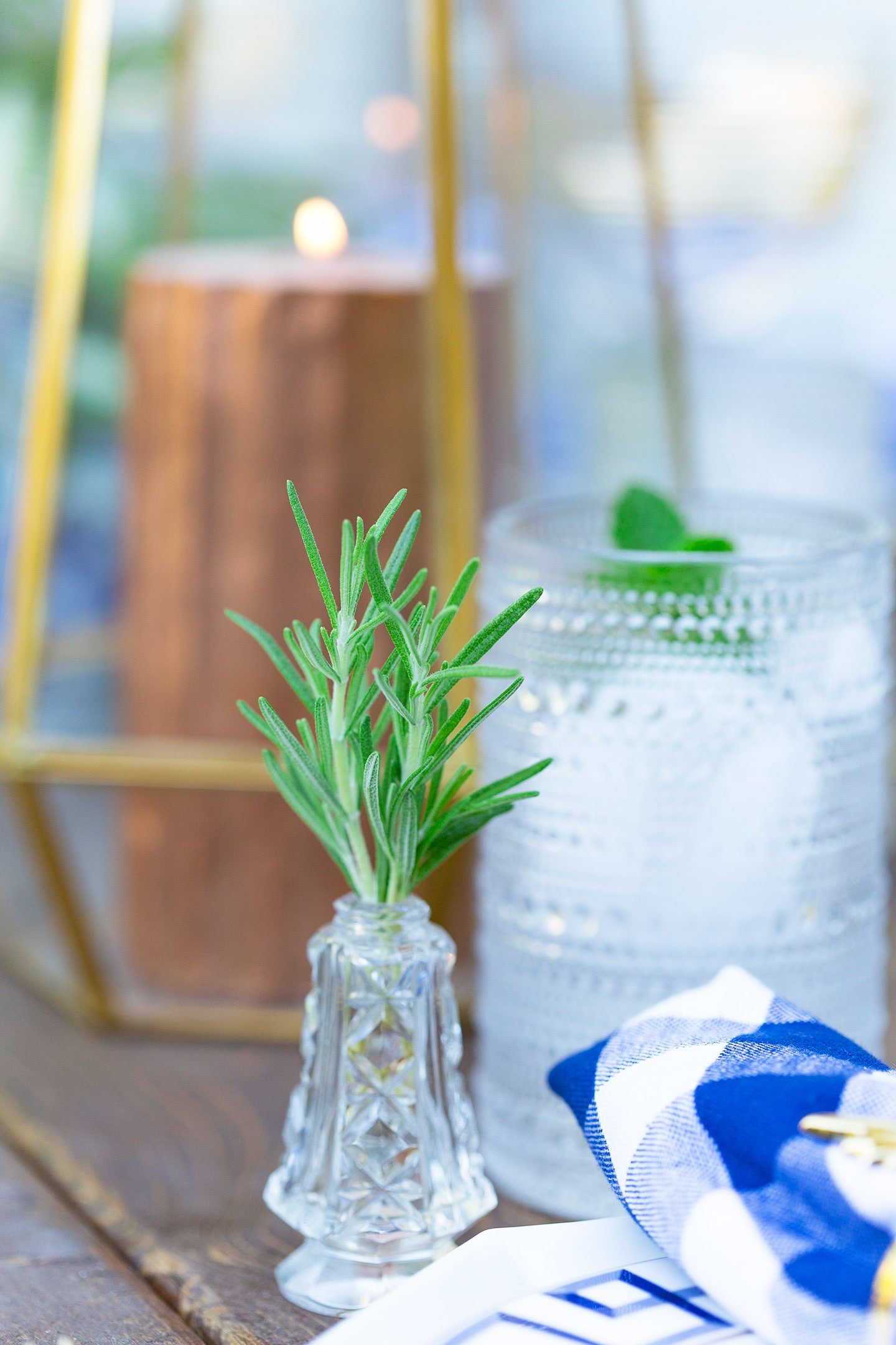 mini herb vases on dinner party tablescape