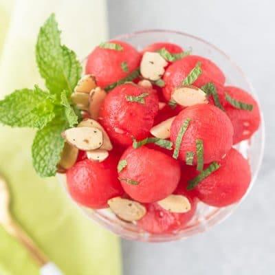 close up of watermelon salad balls