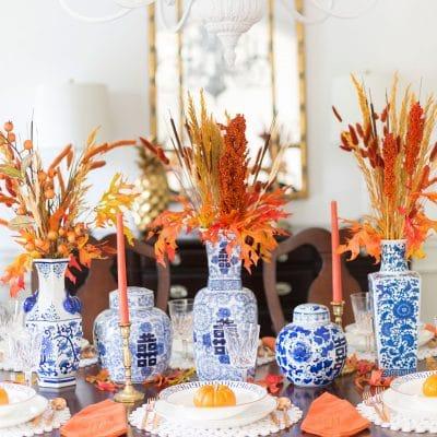 Orange and Blue Fall Tablescape