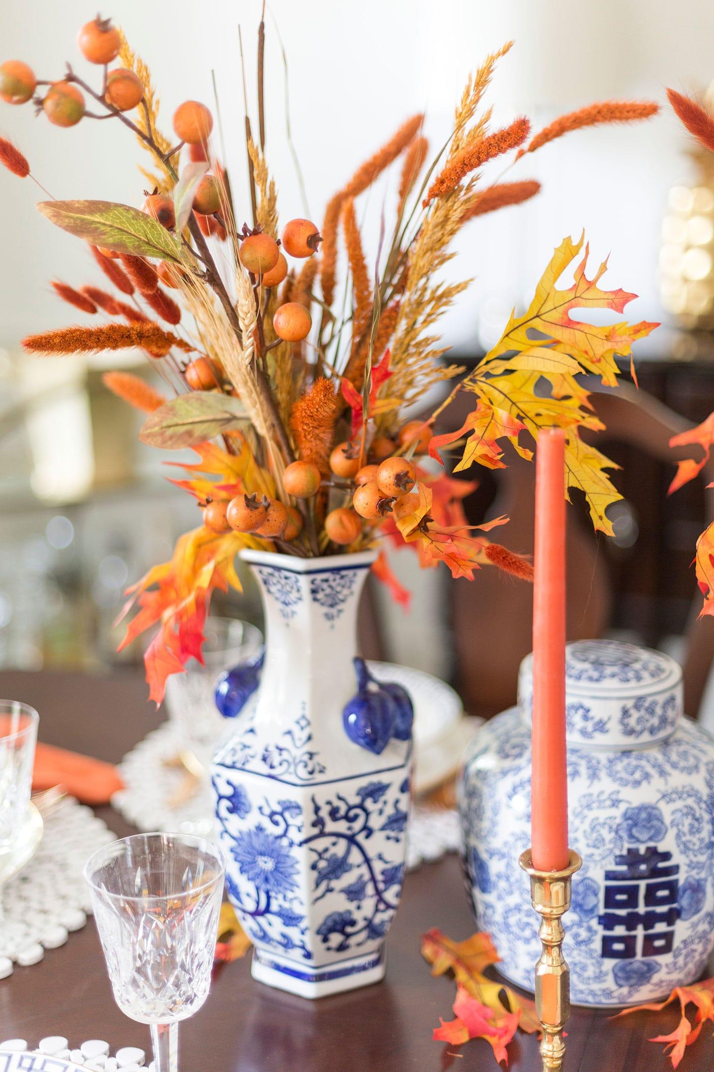 Fall tablescape floral centerpiece