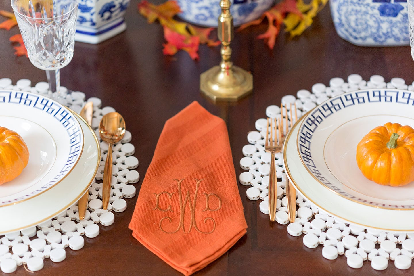 Fall tablescape with monogrammed napkins