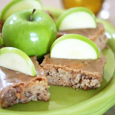 a plate of apple cake bars