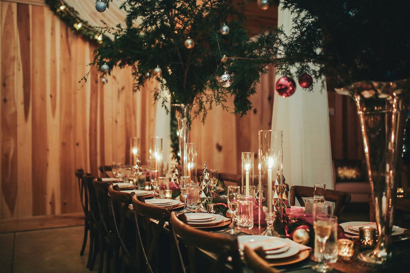 A dining room table with a holiday party