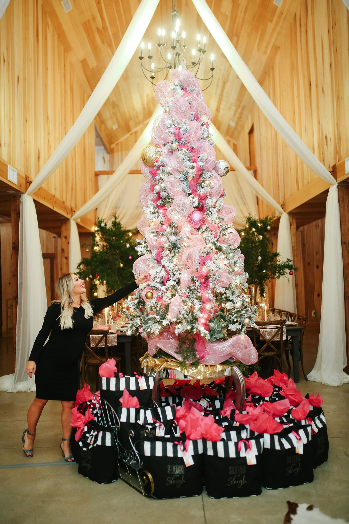 a pink holiday christmas party