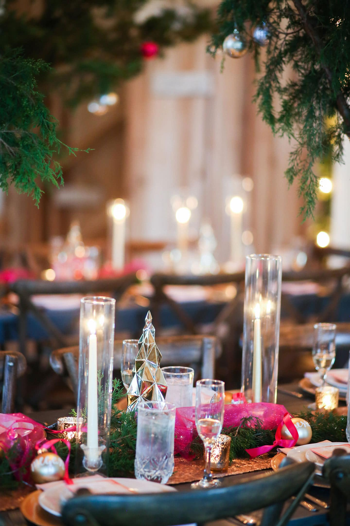 A dining table with wine glasses, with Party and Holiday