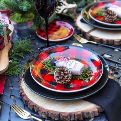 Buffalo Check Tablescape for Christmas Entertaining!