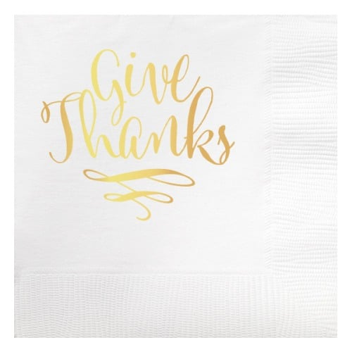 Give Thanks Gold Thanksgiving Napkins #thanksgiving
