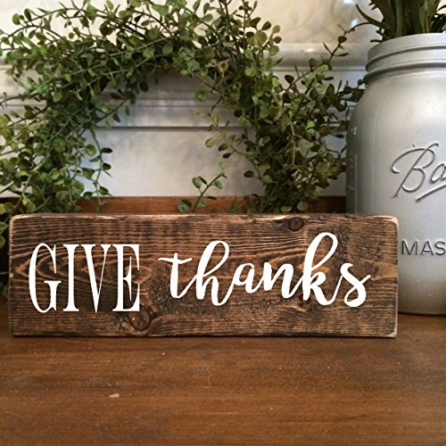Wooden Give Thanks Sign