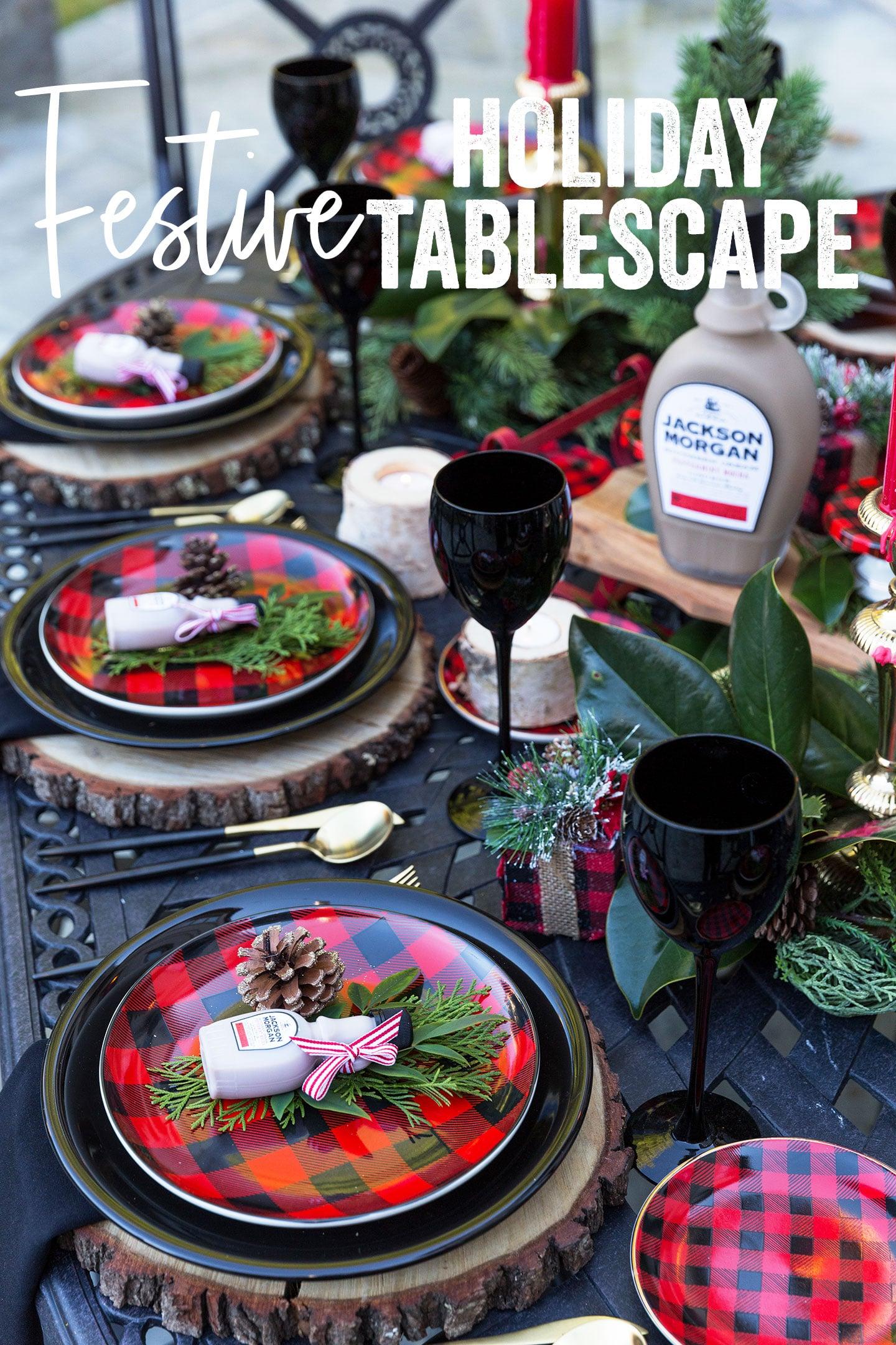 Festive Buffalo Check Plaid Christmas Tablescape #christmas #tablescape