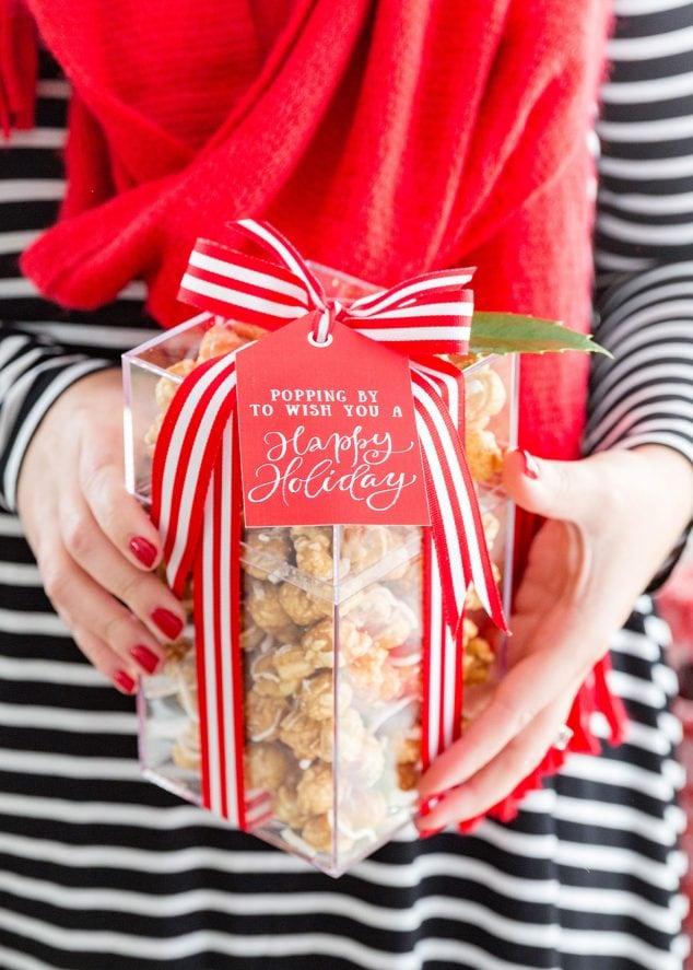Holiday Popcorn Gift Idea Free Printable Gift Tags
