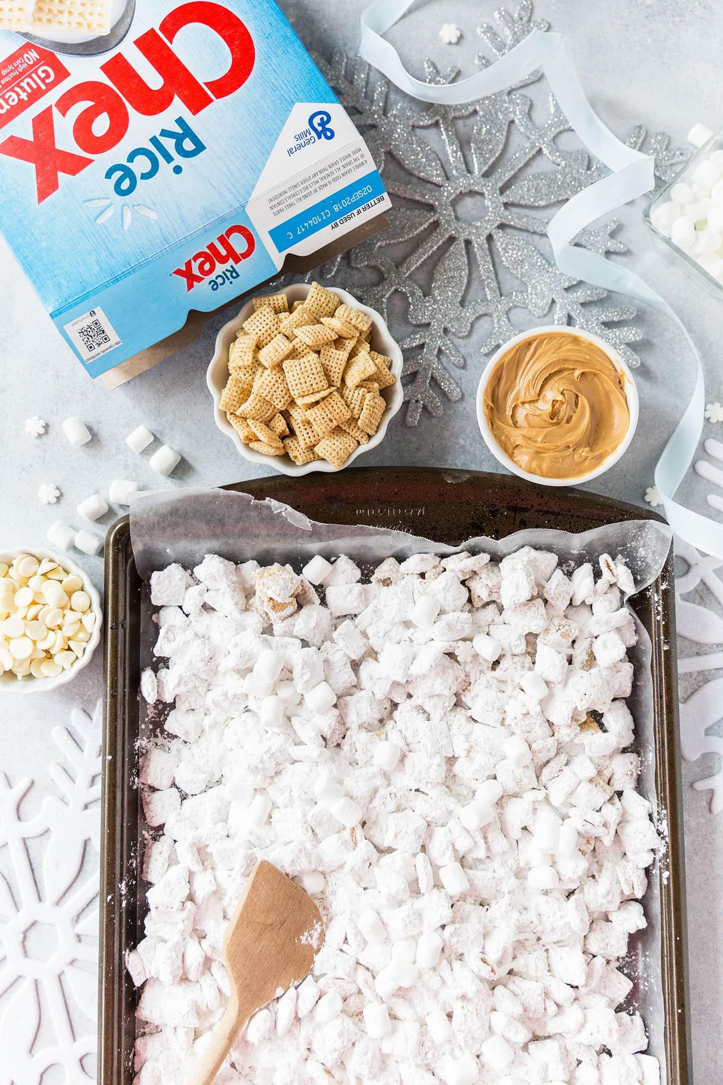 White Chocolate Snowflake Muddy Buddies Recipe