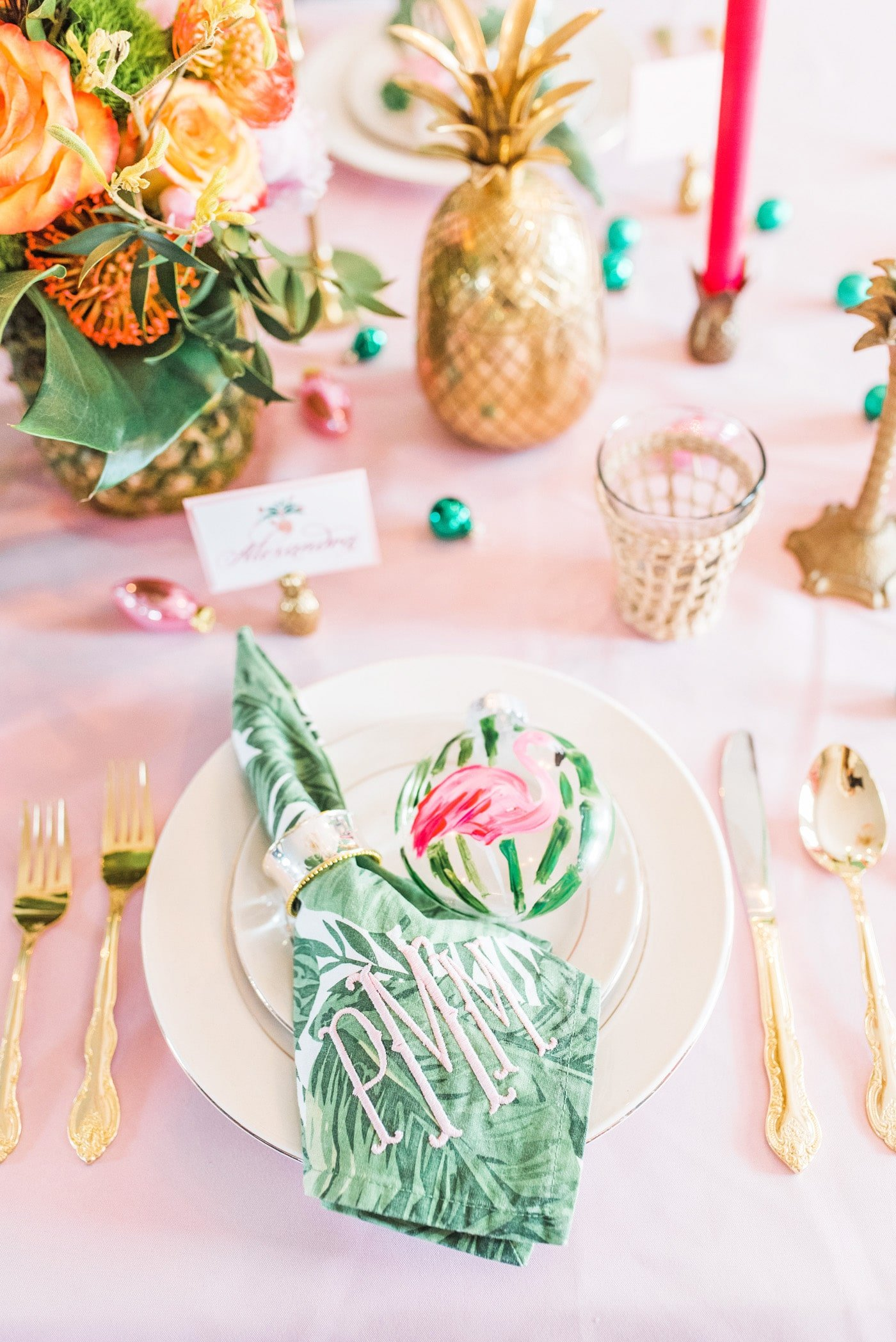 Deck the Palms Holiday Party Tablescape