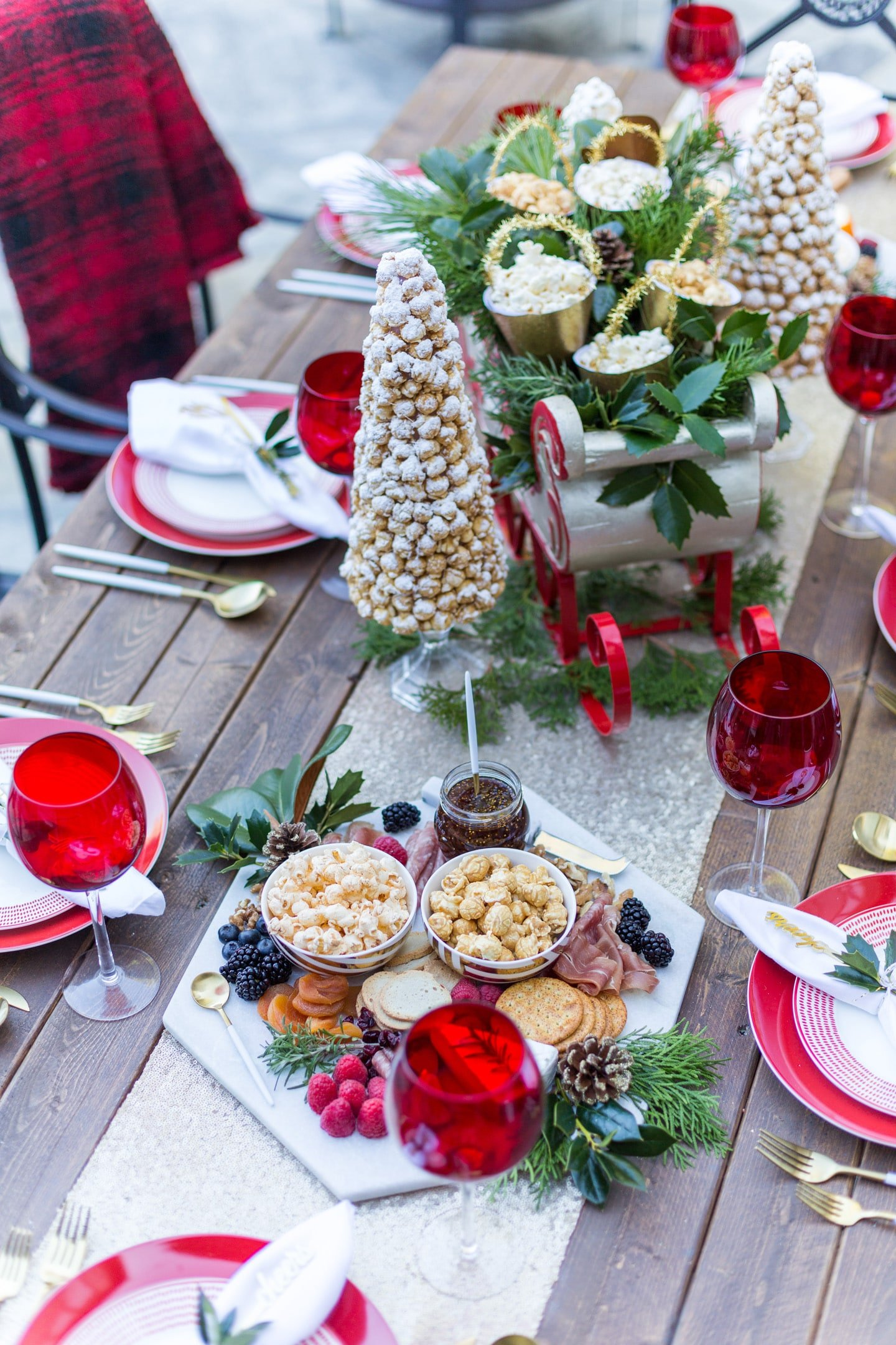 Festive Holiday Tablescape with Popcorn Trees