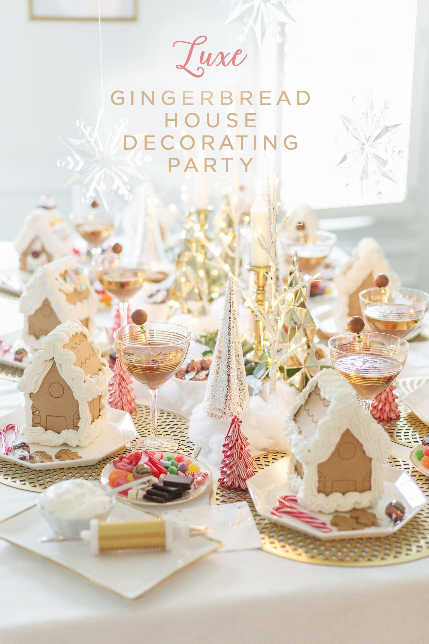 Luxe Gingerbread House Decorating Party and Gingerbread Truffle Martinis!