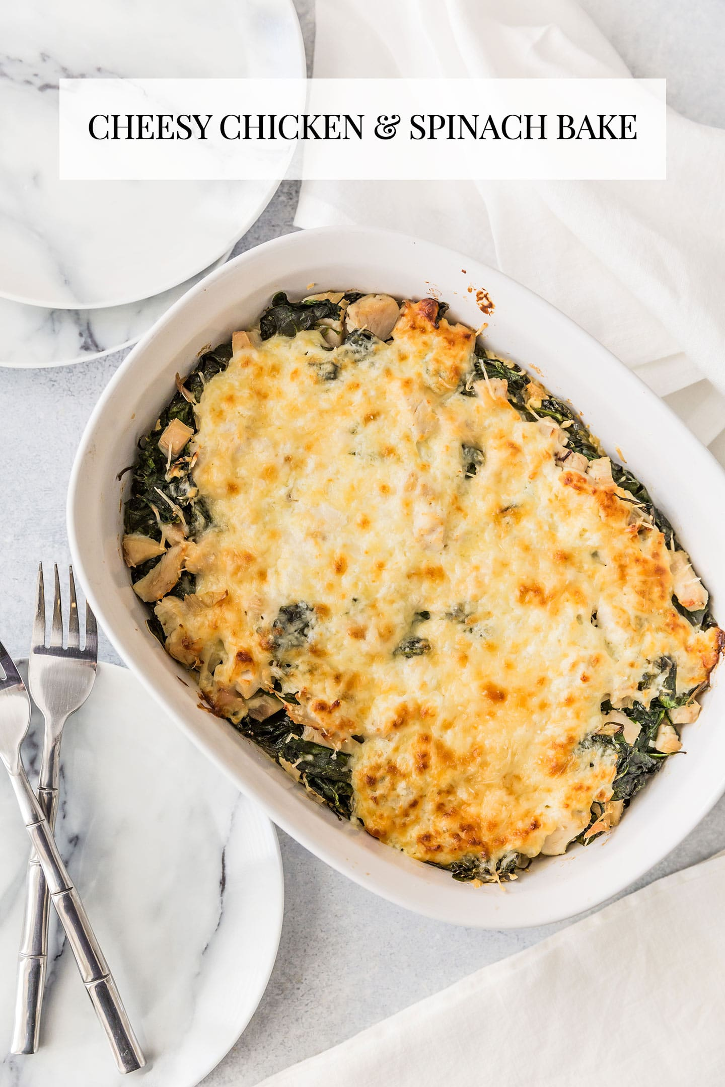 Cheesy Chicken and Spinach Bake made with Greek Yogurt!