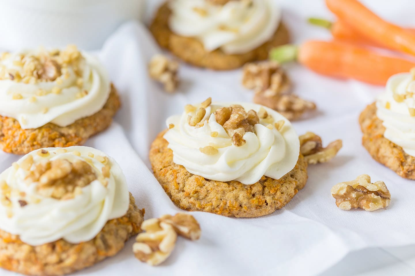 Walnut Carrot Cake Cookies with Cream Cheese Frosting