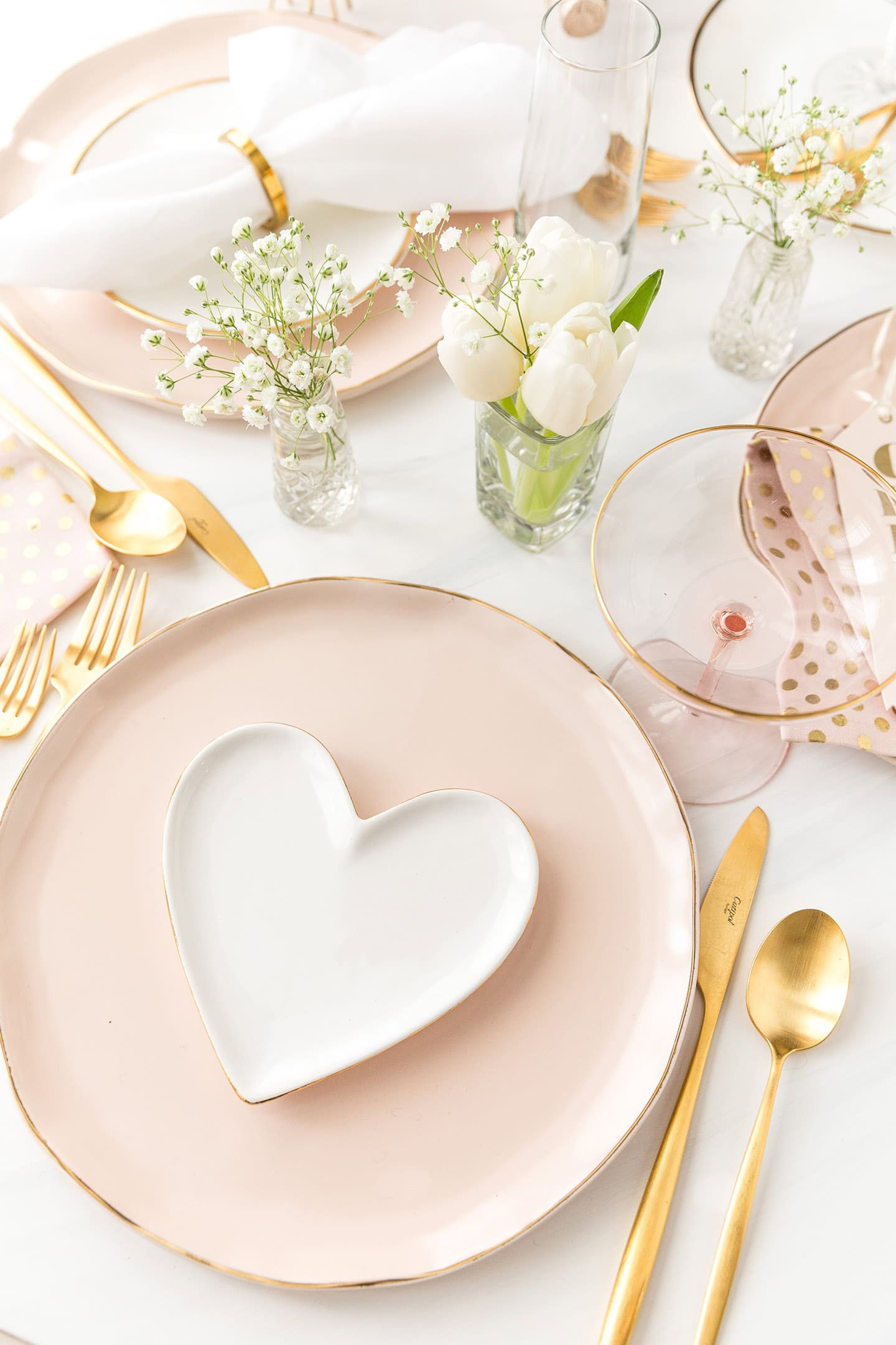 Blush pink and gold Valentine's Day Tablescape